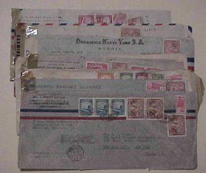 COLOMBIA  10 CENSORED COVERS 1941-1945