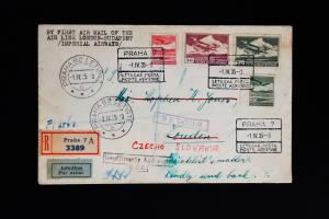 Czechoslovakia Registered Airmail Stamp Cover First Flight to London