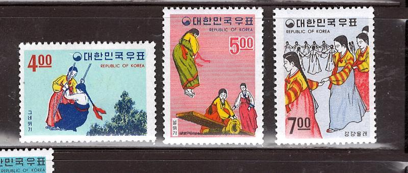 KOREA 1967 KOREAN FOLKLORE #558 - 560 & #558a-560a MNH $35.60