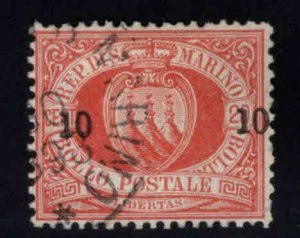 San Marino Scott 28 Used 1892 surcharged stamp