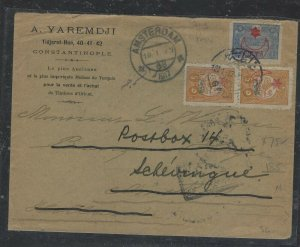 TURKEY COVER (PP0605B) 1917 3 STAMP COVER TO HOLLAND  , SEAL ON BACK