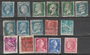France Used Lot 12 (#26,58,109,185-6,191,194,196,242,532,707,709)