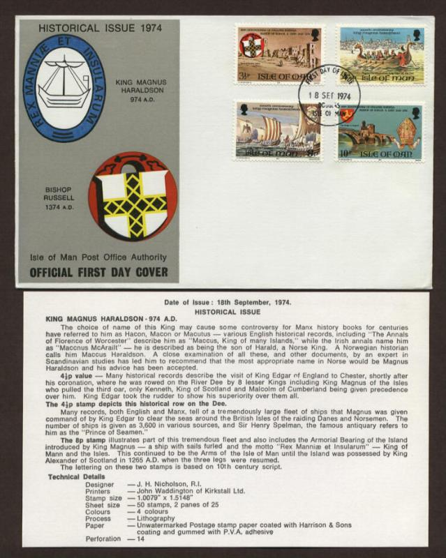 Isle of Man # 44 - # 47 Haraldson & Russell History FDC