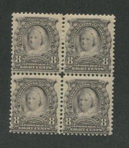 1902 United States Postage Stamp #306 Mint Hinged Original Gum Block of 4