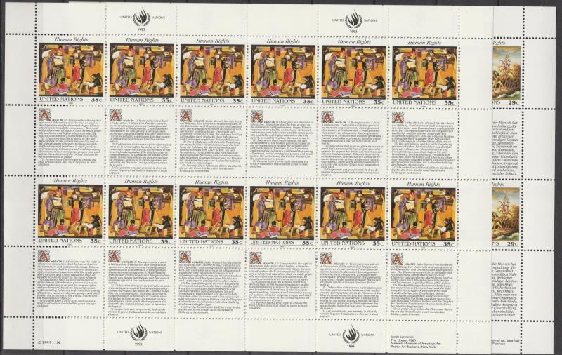 United Nations   #627-8  MNH Panes Of 12 CV $16.00 (A4500L)