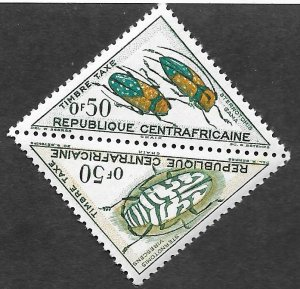 Central African Republic Scott #J1-J2 .50fr Beetle pair Postage Due (1962) MNH