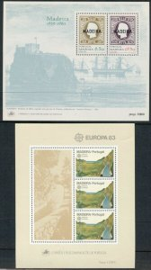 PORTUGAL, MADEIRA: 1983 EUROPA + 1980 Stamps on Stamps; 2 MNH Mini-Sheets