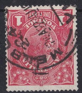 G521) Australia 1918 KGV 1d Carmine red Die III, variety Inverted watermark ACSC
