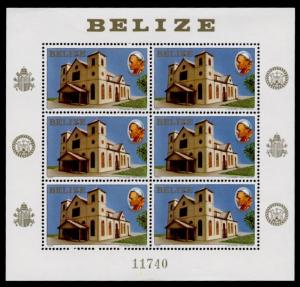 Belize 666 sheet MNH Pope John Paul II, Belize Cathedral