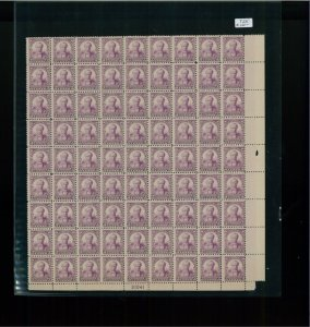 1932 United States Postage Stamp #725 Plate No. 21041 Mint Full Sheet