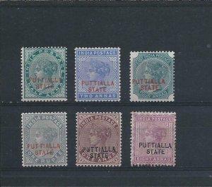 PATIALA 1885 SET OF SIX MM SG 7/12 CAT £150