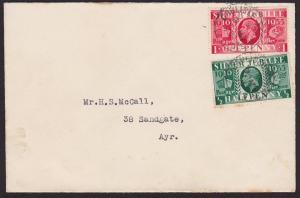 GB 1935 Jubilee ½d & 1d on FDC : CARLISLE - AYR R.S.C. railway cancel.......6443