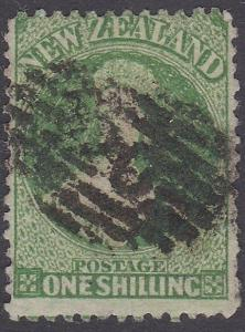 NEW ZEALAND 1864 Chalon 1/- perf 12½ used : QUEENSTOWN 20 pmk................795