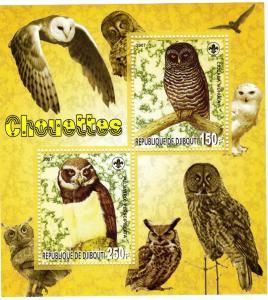 Djibouti 2007 Owls-Birds  Sheetlet No.2 perf.MNH VF
