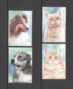 Z0293 GRENADA FAUNA PETS DOMESTIC ANIMALS CATS & DOGS 1SET MNH