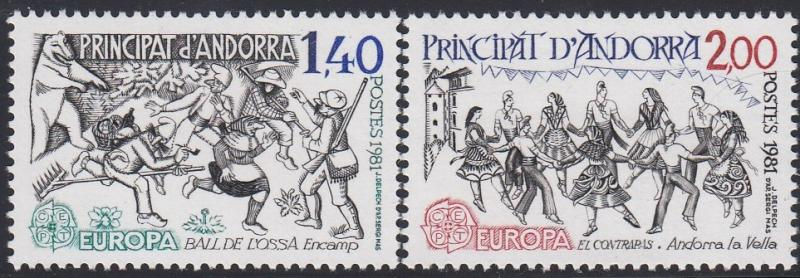 Andorra (French) 286-287 MNH 1981 Europa Complete