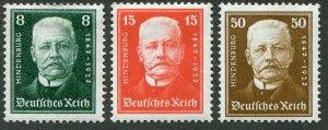 DeutschesReich  Sc.# 354-6-361 MH*                       Mi.#  403-4+6