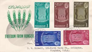 Sharjah 1963 Scott 36-40 + 41 U.N.Food Agricultural Org. Freedom From Hunger FDC