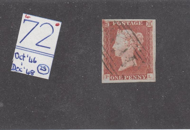GB  SG 9 PLATE 72 4 MARGIN IMPERF PENNY RED VERY LIGHT USED CAT VALUE £40+