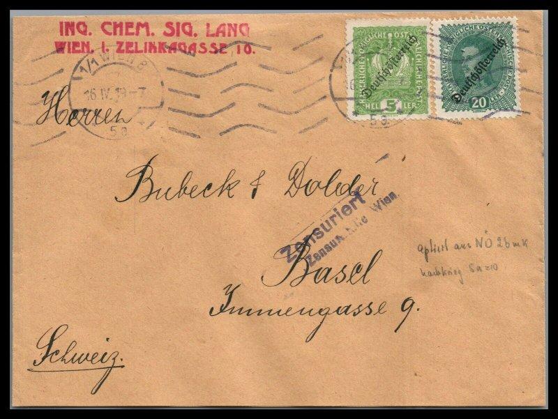Austria  German Occupation censored to Basle Switzerland
