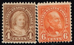 US STAMP #636, 638 1926-28 Rotary Stamps MH/OG STAMPS