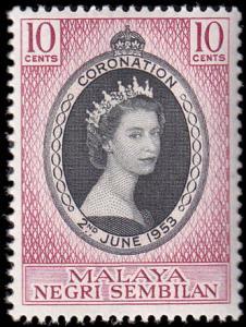Malaya Negri Sembilan Scott 63 Queen Elizabeth II Coronation MNH