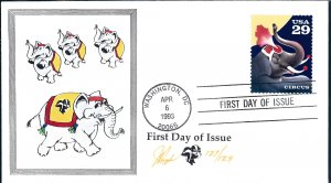 Beautiful Pugh Designed and Painted Circus Elephant FDC -only 129 created...