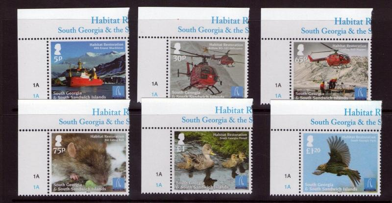 South Georgia QEII HABITAT RESTORATION  set issued 2013  Superb MNH