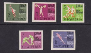 Albania   #686-690  MNH  1963  European  championships imperfs  boxing  rowing
