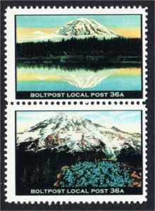 Mount Rainier Washington Pair of Fantasy Stamps Artistamp by Boltpost Local Post
