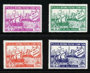 90517- A.S.D.A. 1953 NAT. POSTER STAMP SHOW - MNH SET OF 4 COLORS