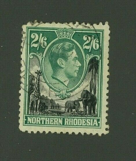 Northern Rhodesia 1938 2sh 6p George VI Scott 41 used, Value = $7.00