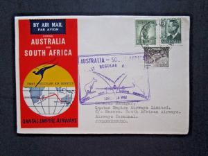 Australia 1952 Australia / S. Africa Flight Cover Johannesburg Backstamp - Z4115