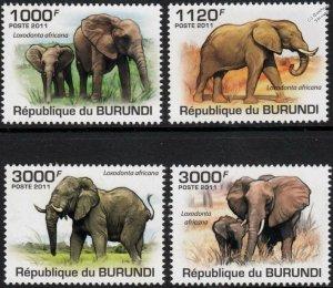 Burundi MNH 847-50 Elephants 2011 SCV 13.50