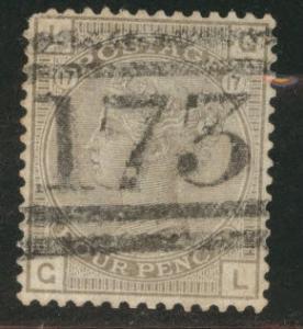 Great Britain Scott 84, 1880 Victoria 4p Plate 17  CV$65