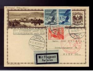 1929 Vienna Austria Graf Zeppelin postcard cover