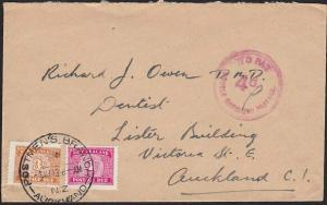 NEW ZEALAND 1943 local Auckland cover - TO PAY / 4d + dues..................1846