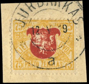 LITUANIE / LITHUANIA - 1919 - JURBARKAS  cds on Mi.46 on piece