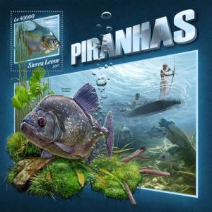 SIERRA LEONE - 2017 - Piranhas - Perf Souv Sheet - MNH