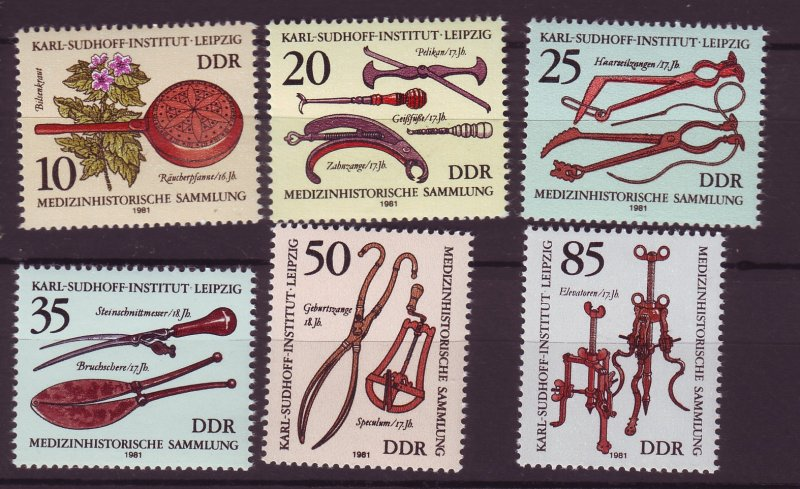 J25328 JLstamps 1981 germany DDR mnh set #2213-8 medical
