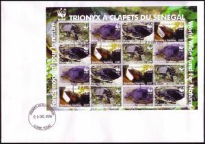 Togo WWF Senegal Flapshell Turtle FDC Sheetlet of 4 sets MI#3337-3340 SC#2039a-d