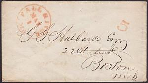 USA c1840s FALL RIVER / Ms and 5 on cover to Boston........................67242