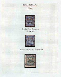 Zanzibar 1904 1r Revenue Official and local also 2r scarce trio