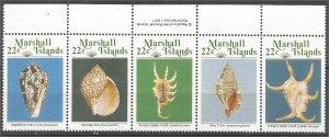 MARSHALL ISLANDS, 1987, MNH 22c, Strip of 5  Seashells Scott 156a