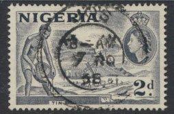 Nigeria  SG 72f SC# 83 Used  QEII 1953  Variety Type B Tin Mining  see scan