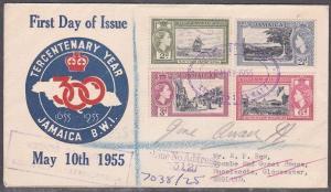 JAMAICA 1955 Tercentenary set commem FDC to UK - GONE NO ADDRESS.............746
