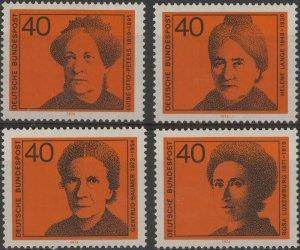 Stamp Germany Sc 1128-31 1974 Honoring Women Writer Politician Bundespost MNH