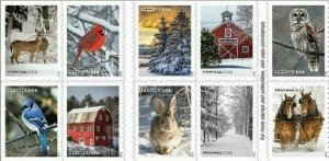 5561-70 Winter Scenes US Booklet Block Of 10 MNH SHIPS FREE AFTER 10/25