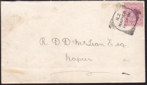 NEW ZEALAND 1891 cover NELSON squared circle, code 5 ......................68588