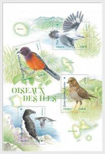 2021   FRANCE  -  ISLAND BIRDS  - UNMOUNTED MINT MINI SHEET